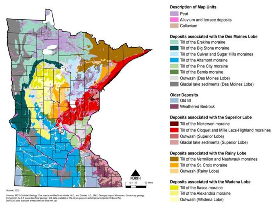 Soils And Geology Minnesota Stormwater Manual - A map of the us showing minnesota