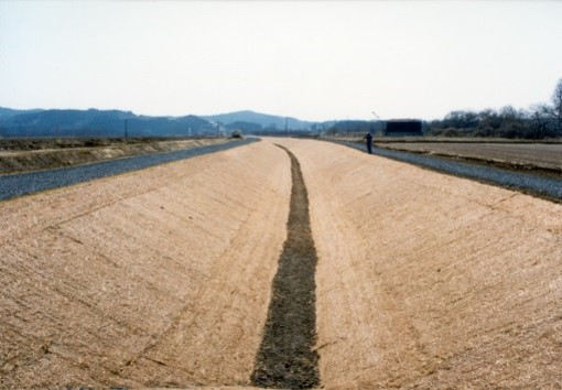 File:Erosion control mat used to protect swale side slopes.jpg