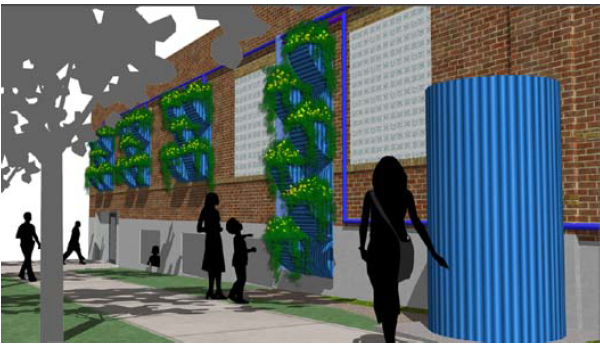 This image shows Wall garden to capture rooftop runoff