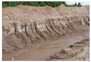 This photo shows Subsoil erosion at a construction site
