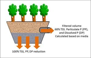 schematic of pollutant reductions from tree trench with an underdrain BMP