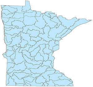 map showing the location of Minnesota's major river basins