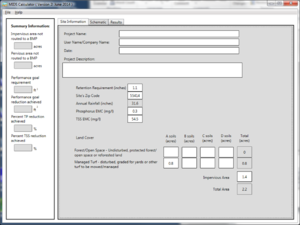 Screen shot of the Site Information tab of the MIDS calculator