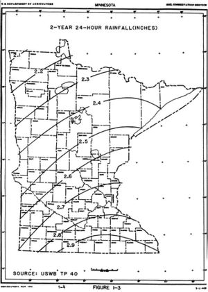 map showing 2-year 24-hour rainfall distribution across Minnesota