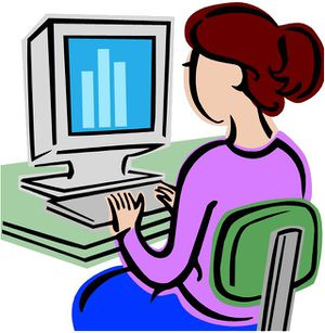 clipart showing a person working on a computer