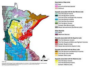 map illustrating Minnesota's surficial geology