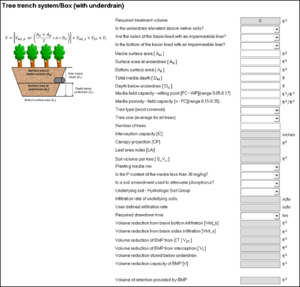 schematic of BMP Summary tab for tree trench with underdrain in MIDS calculator