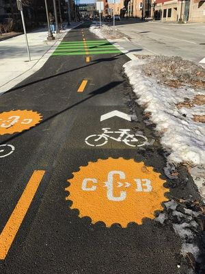 This image shows a bike lane in St Paul MN