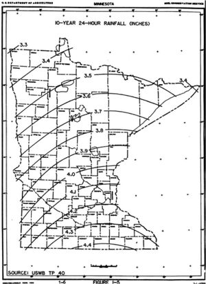 map showing 10-year 24-hour rainfall distribution across Minnesota