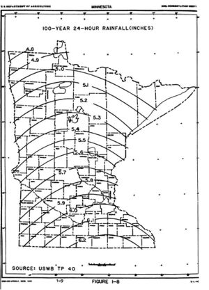 map showing 100-year 24-hour rainfall distribution across Minnesota