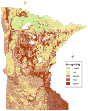 map of MN groundwater sensitivity