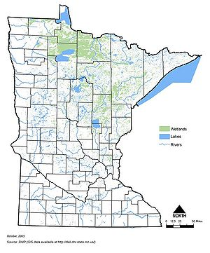 map showing the location of Minnesota's lakes, rivers and wetlands