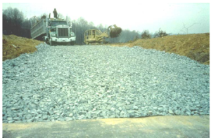 This image shows a properly installed rock construction entrance