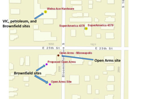 schematic of Open Arms site