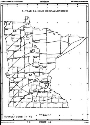 map showing 5-year 24-hour rainfall distribution across Minnesota