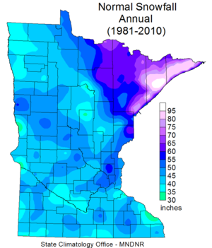map showing normal annual snowfall in Minnesota