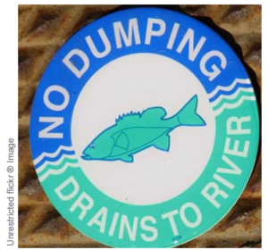 This image shows a symbol for No Dumpoing Drains to River