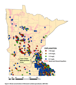 map of nitrate distribution in MN