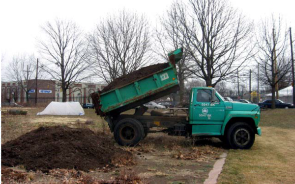 This image shows a compost delivery to a project site