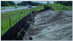 This image shows a properly installed silt fence