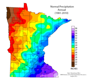 map showing normal annual precipitation across Minnesota.