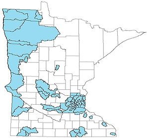 map showing the location of Minnesota's Watershed Management Organizations