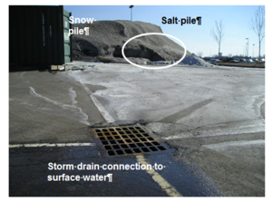 This photo of salt storage uncovered and downhill from snow pile