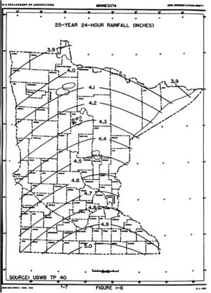 map showing 25-year 24-hour rainfall distribution across Minnesota