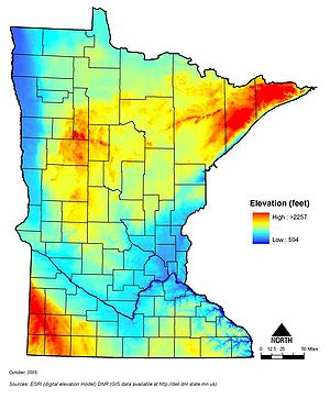 map showing general elevations of the land surface across Minnesota
