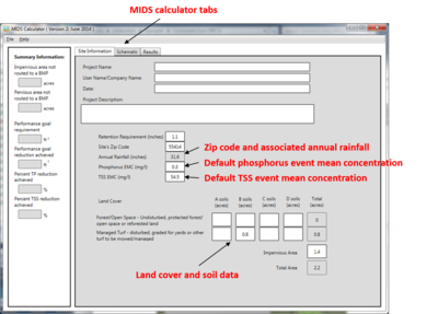 image of MIDS calculator site information tab