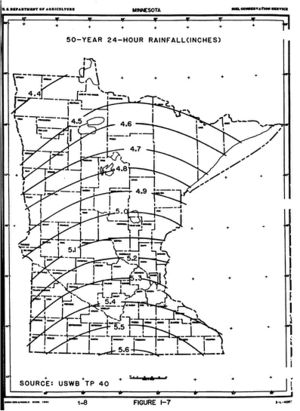 map showing 50-year 24-hour rainfall distribution across Minnesota