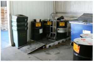 This image shows a proper hazardous material storage