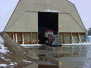 Photo of Salt delivery to a Washington County Salt Shed