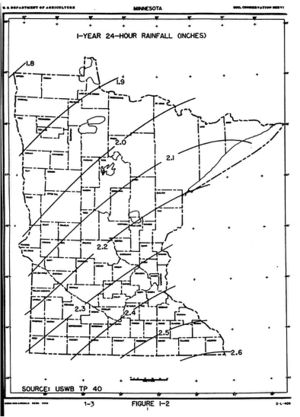 map showing 1-year 24-hour rainfall distribution across Minnesota