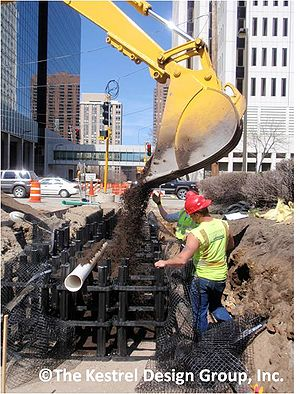photo of soil placement into silva cell installation, Marquette Avenue, Minneapolis