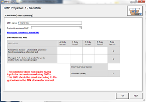 screen shot of watershed tab for sand filter in MIDS calculator