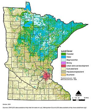 map showing generalized land cover across Minnesota